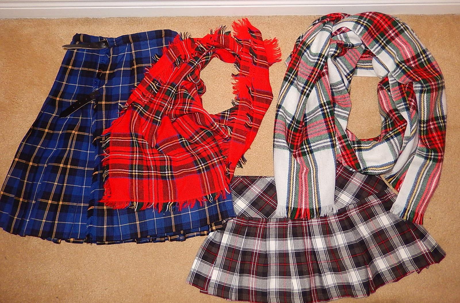 tartan skirt scarf
