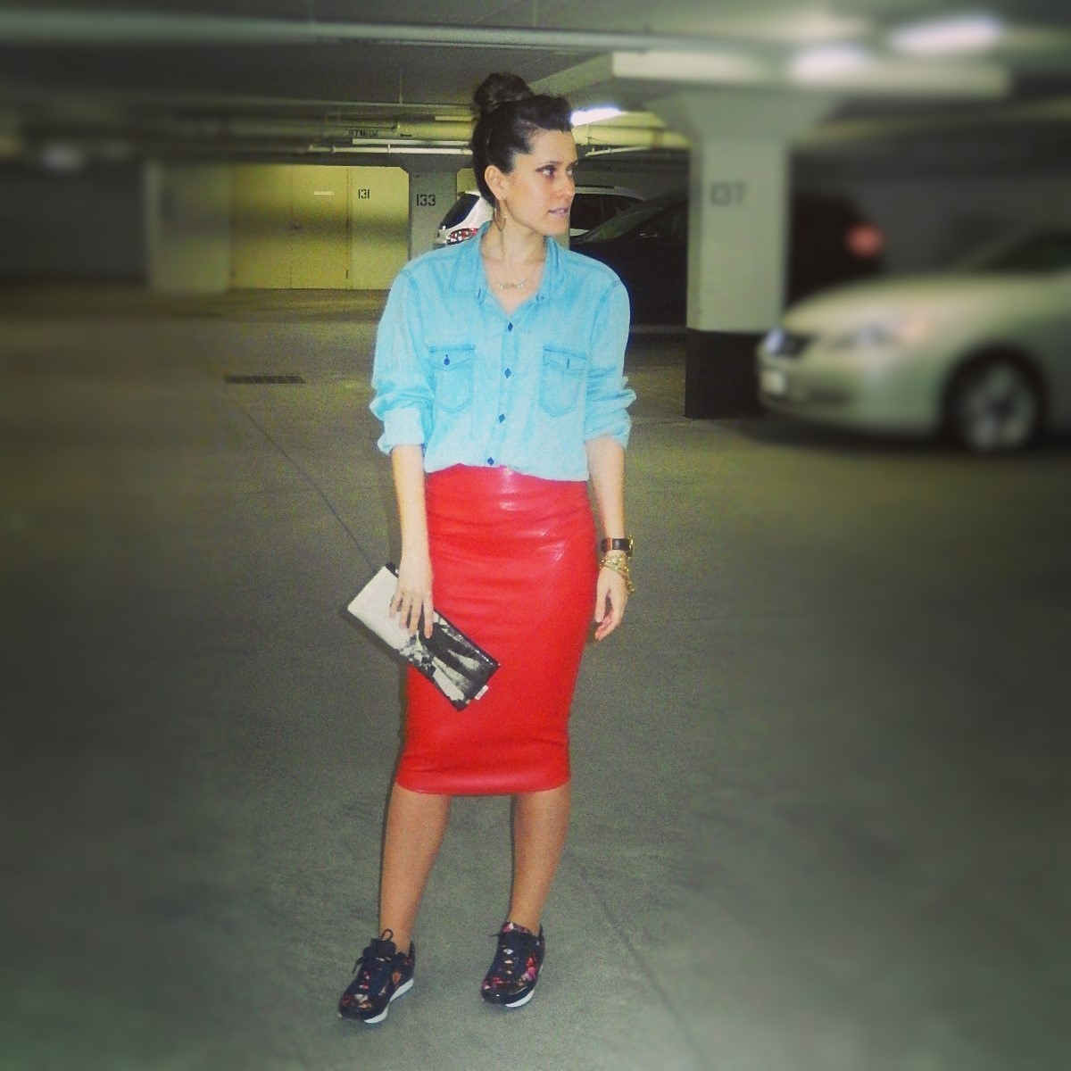 red pencil leather skirt