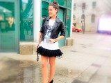 feather dress toronto fashion week